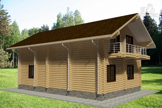 Фото 3: проект дом из бревна с тремя балконами