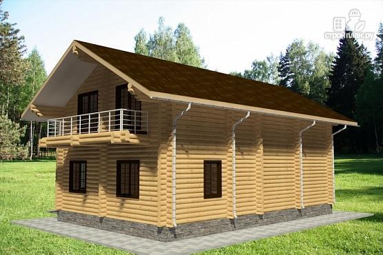 Фото 4: проект дом из бревна с тремя балконами