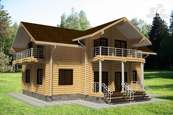 Фото 2: проект дом из бревна с тремя балконами