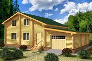 Фото: деревянный двухэтажный дом с гаражом, тренажерным залом и кабинетом