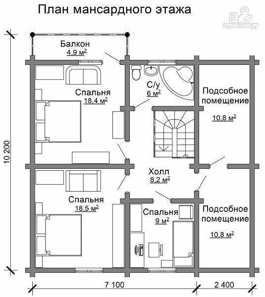 Фото 7: проект деревянный двухэтажный дом с гаражом, тренажерным залом и кабинетом