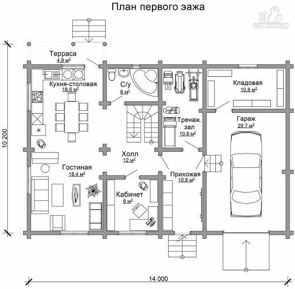 Фото 6: проект деревянный двухэтажный дом с гаражом, тренажерным залом и кабинетом