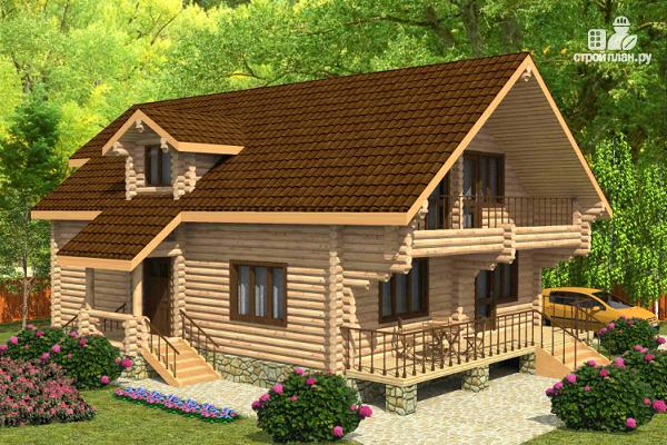 Фото: проект дом из цилиндрического бревна с четырьмя спальными комнатами