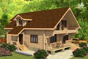 Фото: дом из цилиндрического бревна с четырьмя спальными комнатами
