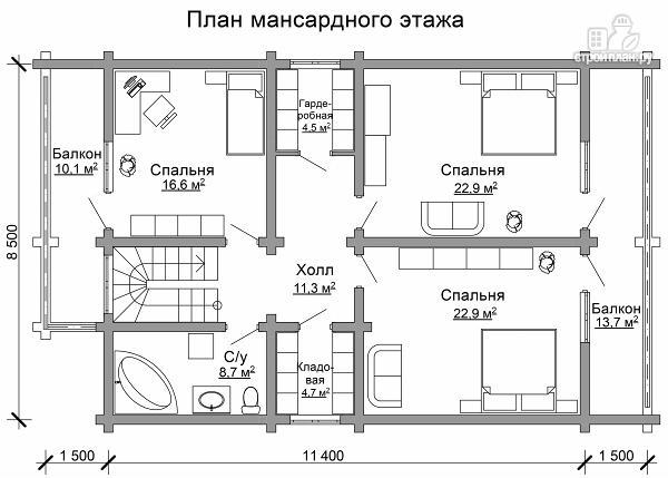 Фото 7: проект дом из цилиндрического бревна с четырьмя спальными комнатами