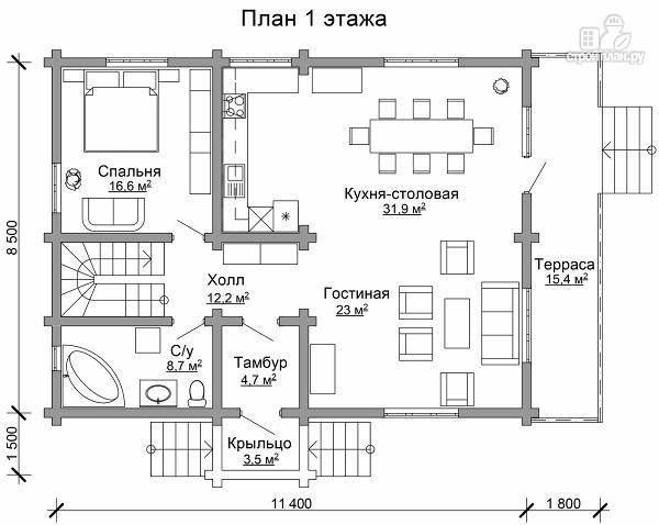 Фото 6: проект дом из цилиндрического бревна с четырьмя спальными комнатами