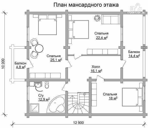 Фото 7: проект бревенчатый дом с террасой и четырьмя спальнями