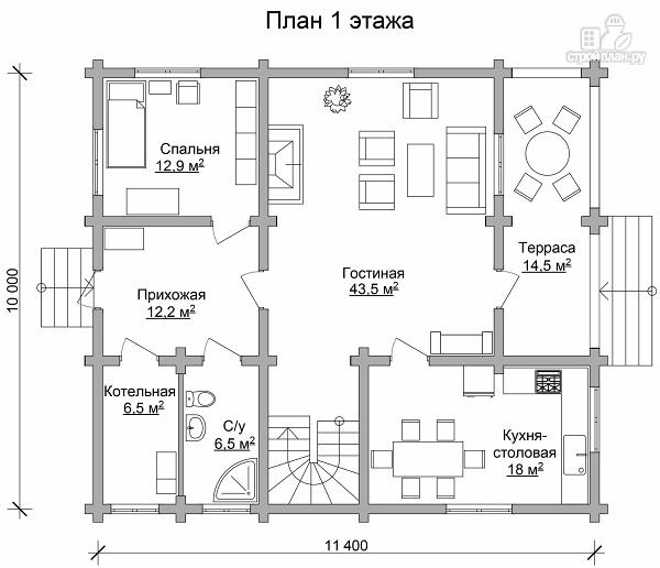 Фото 6: проект бревенчатый дом с террасой и четырьмя спальнями