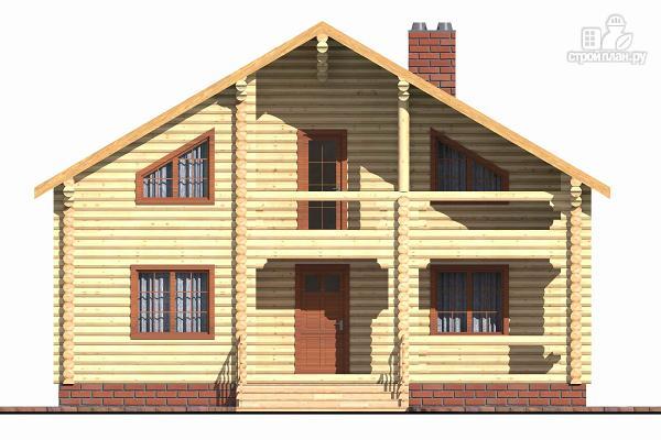 Фото 2: проект бревенчатый дом с террасой и четырьмя спальнями