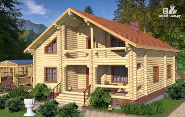 Фото: проект бревенчатый дом с террасой и четырьмя спальнями