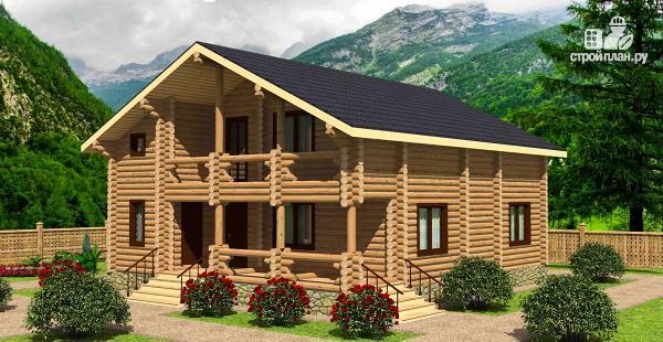Фото: проект дом из бревна с четырьмя спальнями и гардеробной