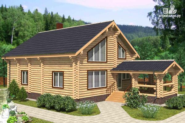 Фото: проект бревенчатый двухэтажный дом с холлом «второй свет»