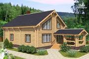 Проект бревенчатый двухэтажный дом с холлом «второй свет»