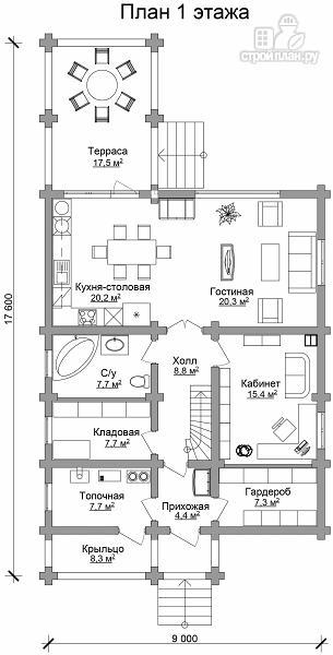 Фото 6: проект бревенчатый двухэтажный дом с холлом «второй свет»
