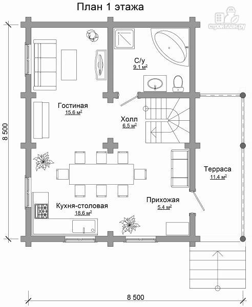 Фото 6: проект компактный дом с совмещенными гостиной и кухней-столовой