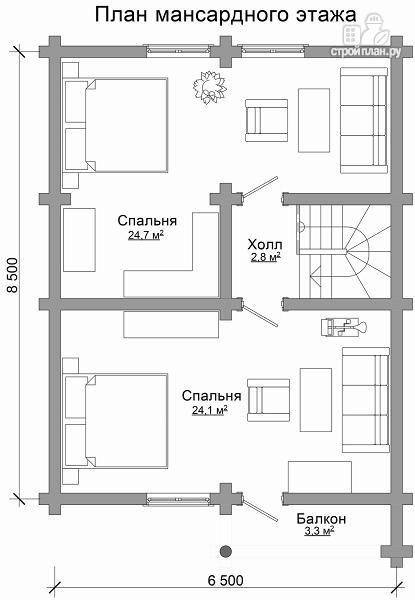 Фото 7: проект компактный дом с совмещенными гостиной и кухней-столовой