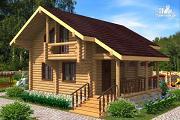 Проект компактный дом с совмещенными гостиной и кухней-столовой