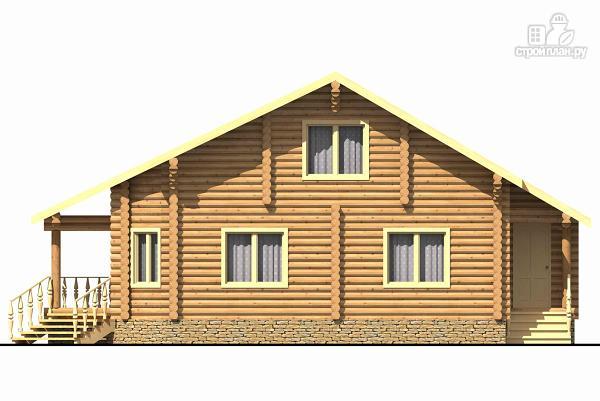 Фото 2: проект двухэтажный дом из цилиндрического бревна с эркером