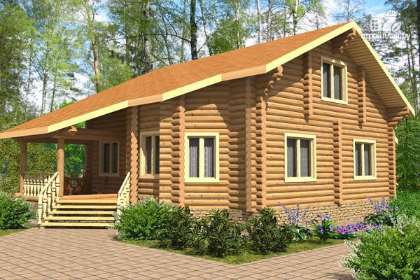 Фото: проект двухэтажный дом из цилиндрического бревна с эркером