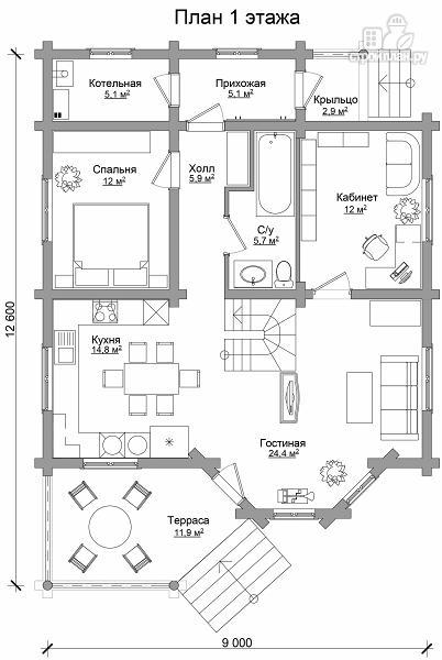 Фото 6: проект двухэтажный дом из цилиндрического бревна с эркером
