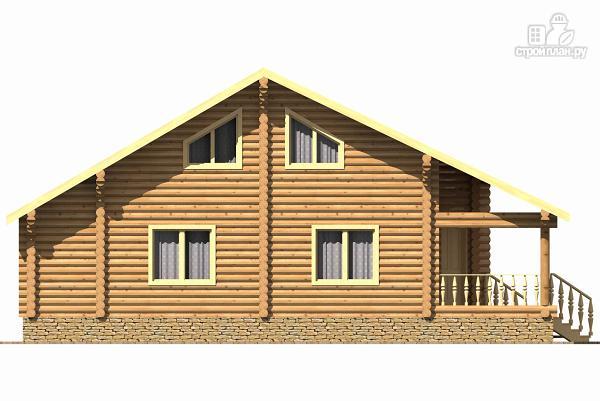 Фото 4: проект двухэтажный дом из цилиндрического бревна с эркером