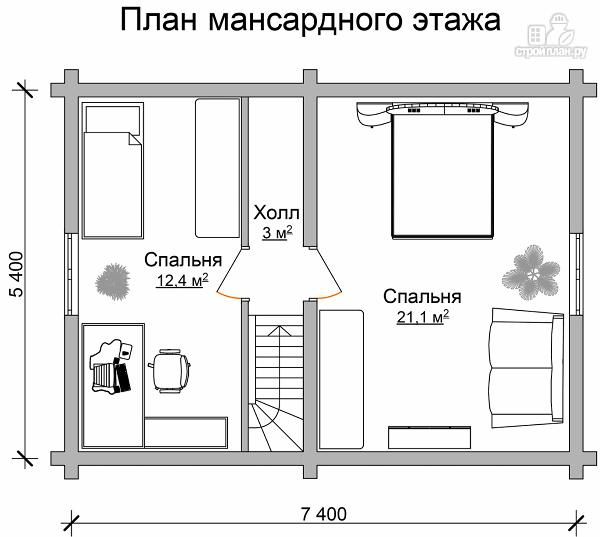 Фото 7: проект дачный домик с двумя спальнями и небольшой террасой