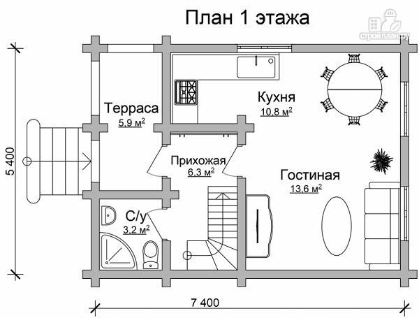 Фото 6: проект дачный домик с двумя спальнями и небольшой террасой