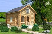 Проект дачный домик с двумя спальнями и небольшой террасой