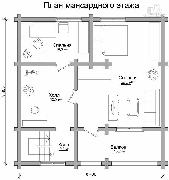 Фото 7: проект бревенчатый дом с тремя спальнями