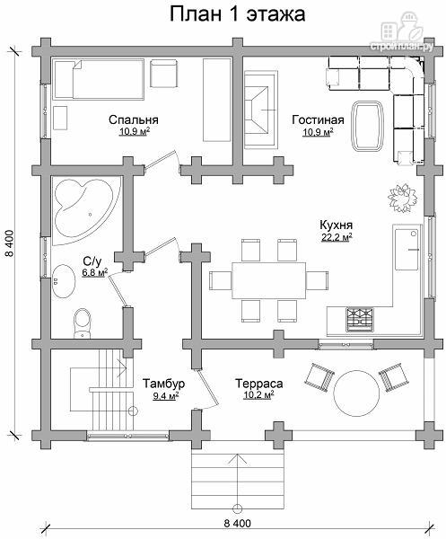 Фото 6: проект бревенчатый дом с тремя спальнями