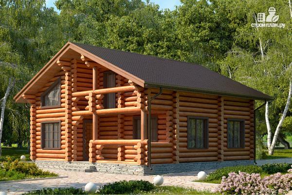 Фото: проект бревенчатый дом с тремя спальнями