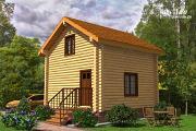 Фото: небольшой двухэтажный деревянный домик на две спальни