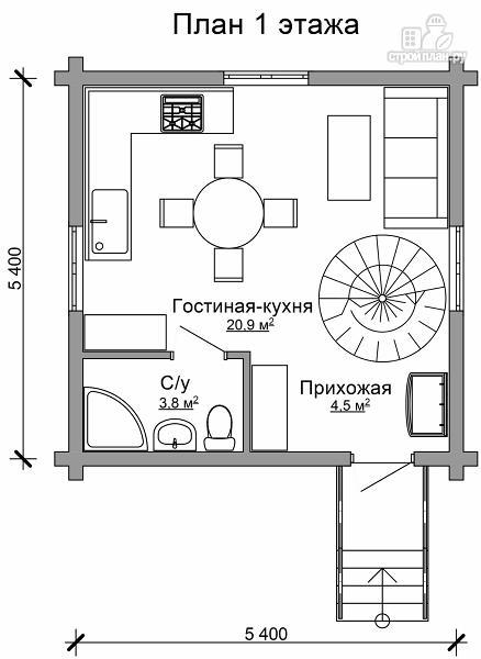 Фото 6: проект небольшой двухэтажный деревянный домик на две спальни