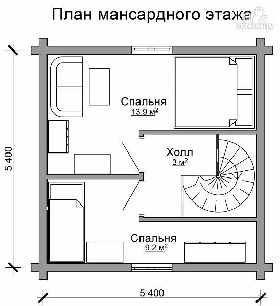 Фото 7: проект небольшой двухэтажный деревянный домик на две спальни