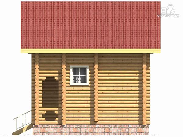 Фото 5: проект бревенчатый дом на две спальни с высокой мансардной стеной