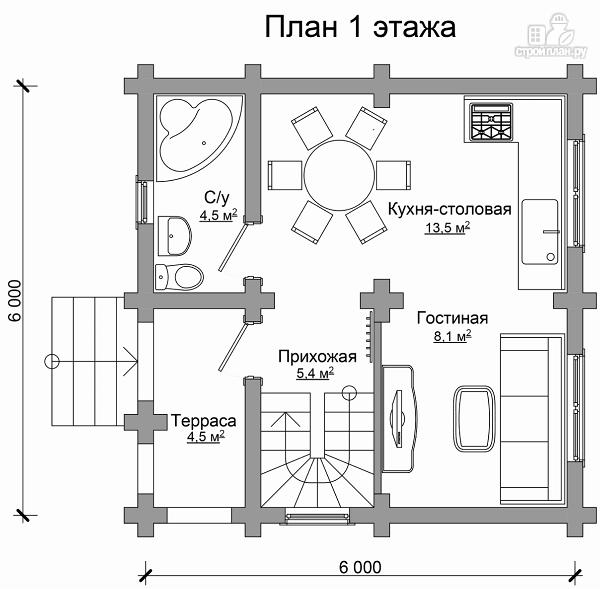 Фото 6: проект бревенчатый дом на две спальни с высокой мансардной стеной