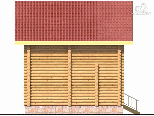 Фото 3: проект бревенчатый дом на две спальни с высокой мансардной стеной