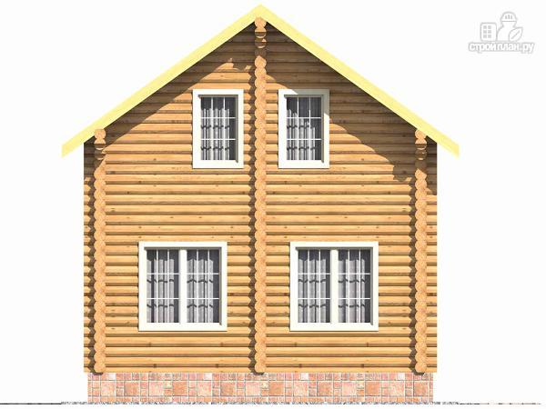 Фото 4: проект бревенчатый дом на две спальни с высокой мансардной стеной