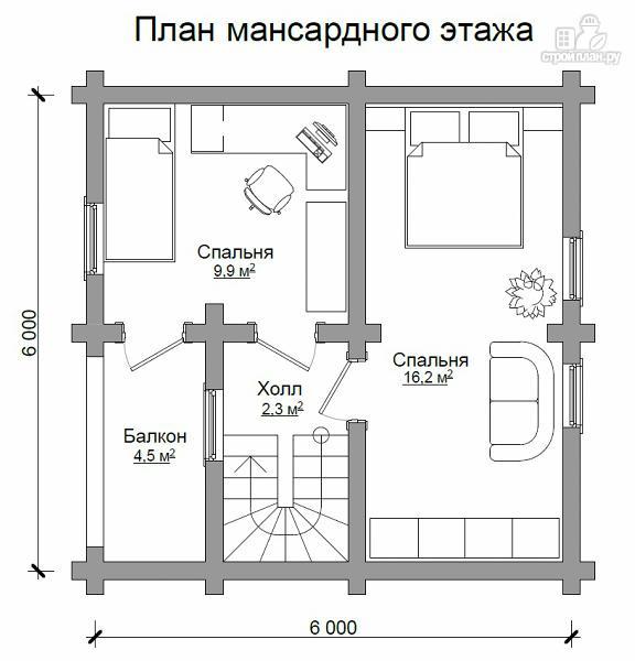 Фото 7: проект бревенчатый дом на две спальни с высокой мансардной стеной