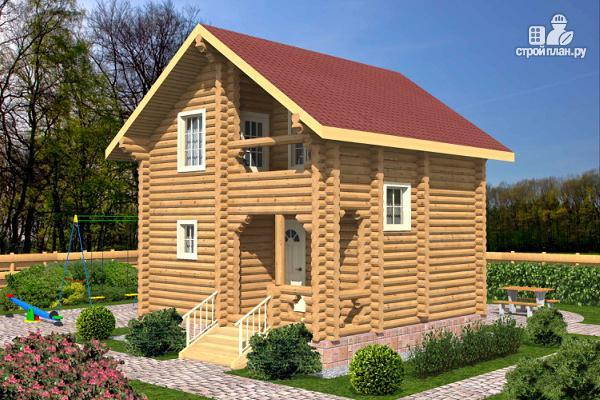 Фото: проект бревенчатый дом на две спальни с высокой мансардной стеной