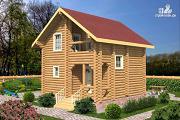 Фото: бревенчатый дом на две спальни с высокой мансардной стеной