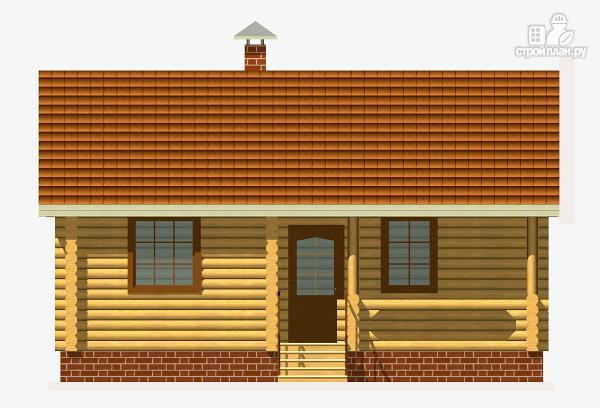 Фото 2: проект дом из бревна с одной спальней и террасой