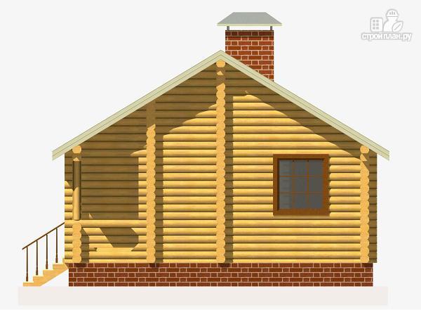 Фото 5: проект дом из бревна с одной спальней и террасой