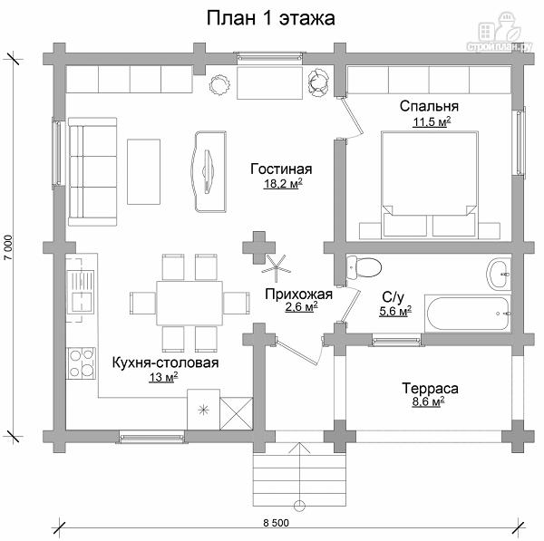 Фото 6: проект дом из бревна с одной спальней и террасой