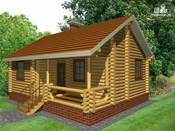 Фото: проект дом из бревна с одной спальней и террасой