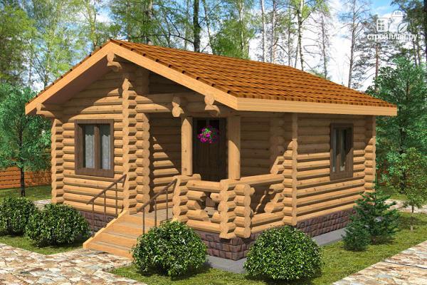 Фото: проект маленький деревянный дом с крыльцом