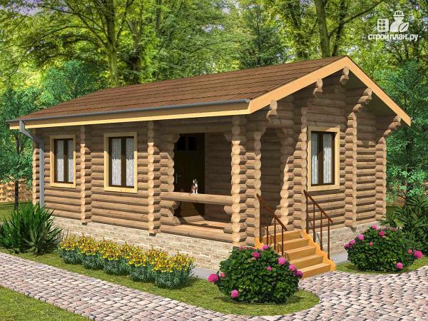 Фото: проект одноэтажный бревенчатый дом с крыльцом