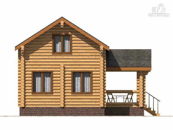Фото 5: проект полутораэтажный бревенчатый дом с террасой