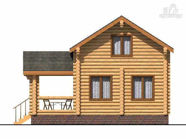 Фото 3: проект полутораэтажный бревенчатый дом с террасой