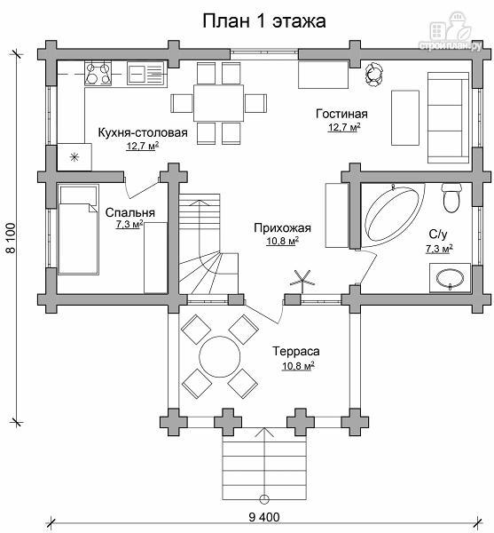 Фото 6: проект полутораэтажный бревенчатый дом с террасой